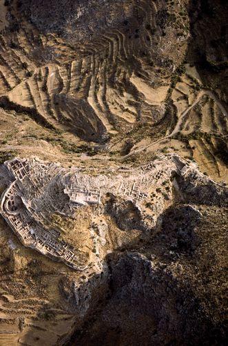 Aerial of Mycanae Ruins, Mycanae Greece