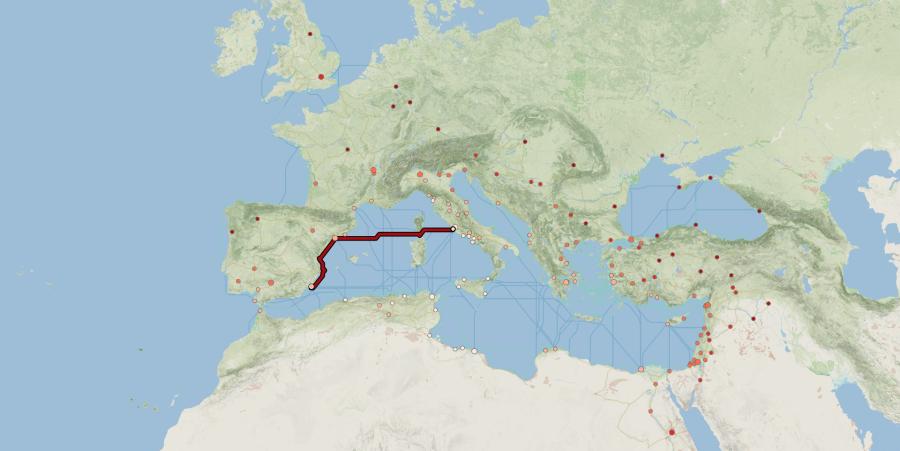 distancia de C a Ostia